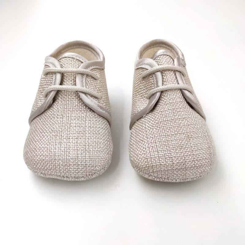 zapatos bebe de lino beige cuquito