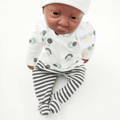 conjunto primera puesta bebe de petit oh gris y verde