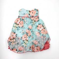 vestido vestir bebe de verano flores coral por la espalda