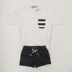 conjunto baño niño camiseta y bañador negro