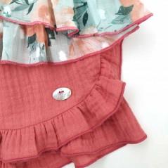 detalle conjunto niña de vestir bas marti flores coral