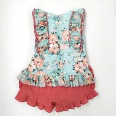 conjunto niña de vestir bas marti flores coral por detras