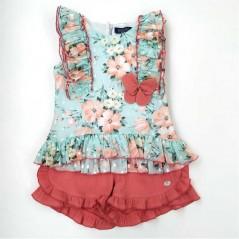conjunto niña de vestir bas marti flores coral