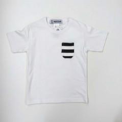 camiseta manga corta niño blanca y marino de marena
