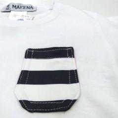 detalle camiseta manga corta niño blanca y marino de marena