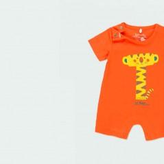 detalle pelele bebe de verano naranja de boboli