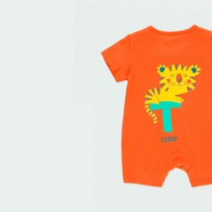 detalle pelele bebe de verano naranja de boboli por detras