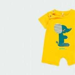 obertura cuello pelele bebe verano amarillo boboli