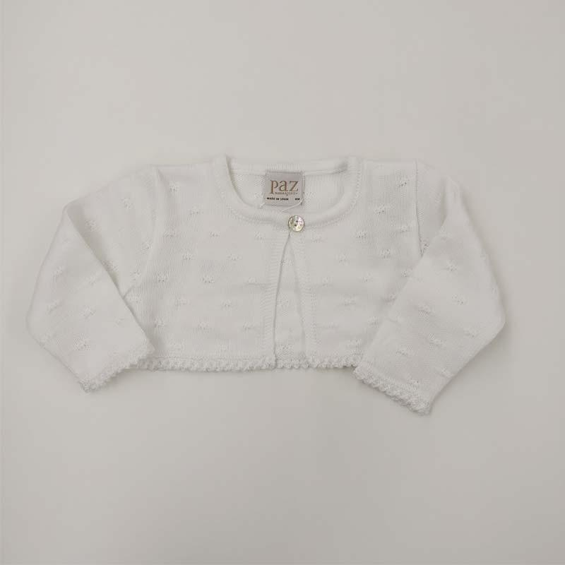 chaqueta bautizo bebe niña blanca de paz rodriguez