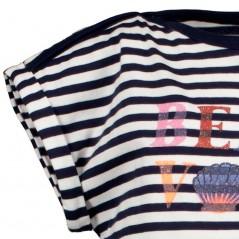 detalle manga camiseta niña garcia jeans rayas marino