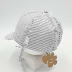 gorra bebe rayas grises de monnuage con goma