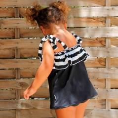 vestido veraniego niña de marena negro y blanco por detras