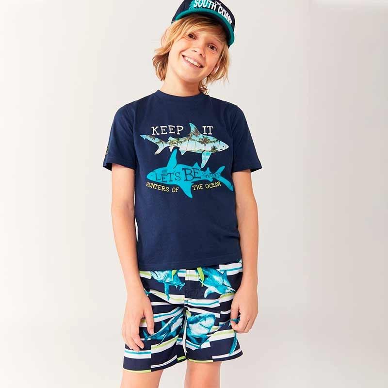 conjunto niño boboli de balador y camiseta tiburones