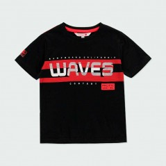camiseta verano niño negra y roja de boboli