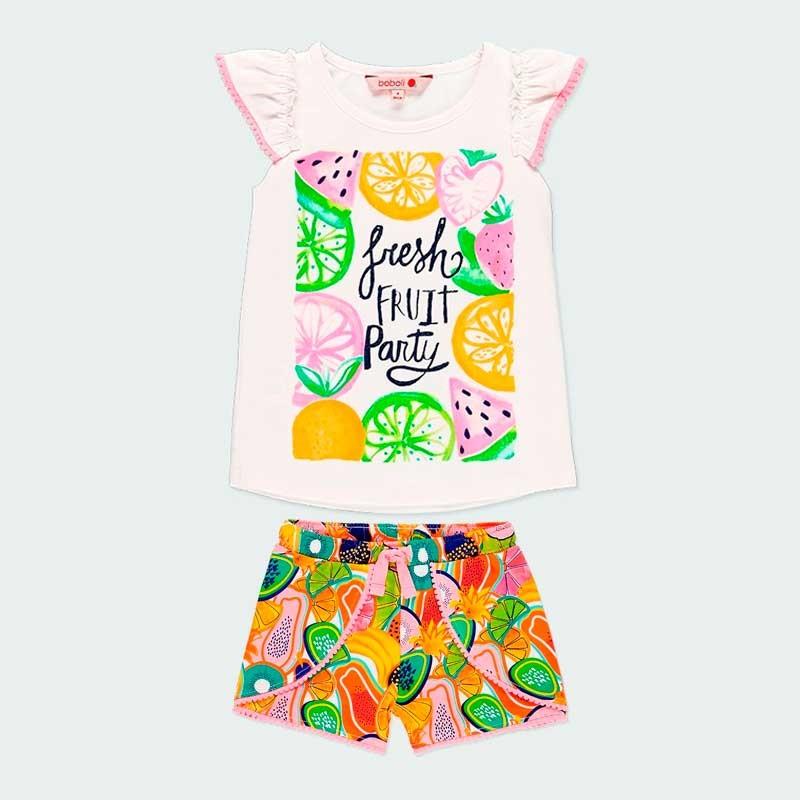 conjunto punto niña boboli de verano estampado frutas