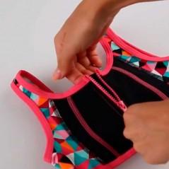 detalle cremallera bikini niña boboli fresa y negro