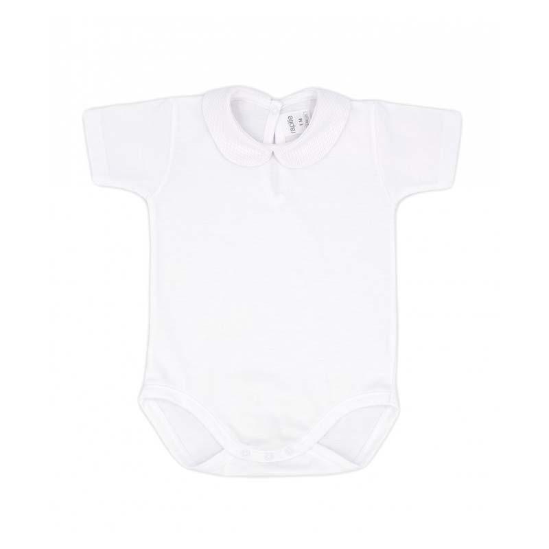 body manga corta de bebe blanco de rapife