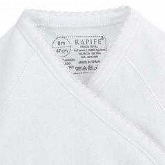 detalle cuello body bebe manga larga blanco neonatos de rapife