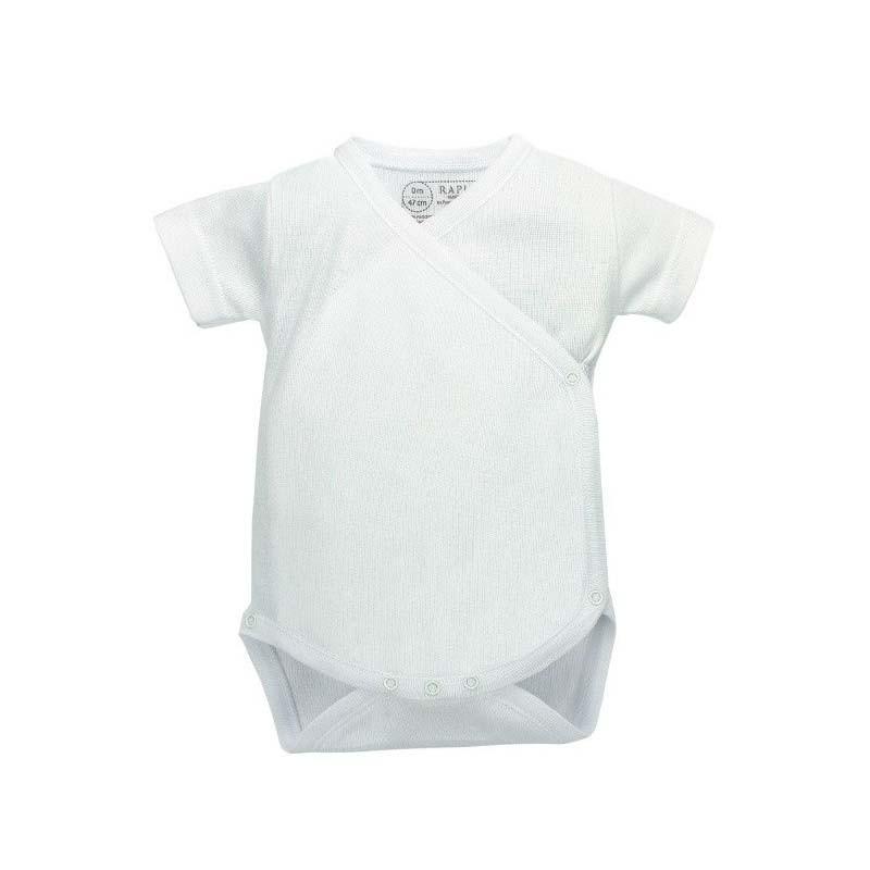 body bebe manga corta algodon blanco de rapife