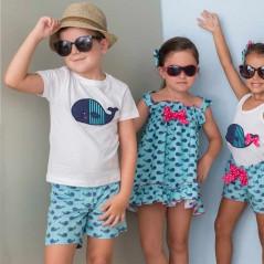 conjunto niño verano de ballenas azul y blanco cuka