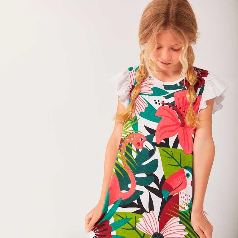 niña con vestido tropical de boboli
