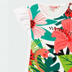 detalle vestido verano niña de boboli estampado tropical