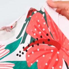 detalle lentejuelas vestido verano niña de boboli estampado tropical
