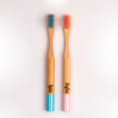 cepillo dientes bambu niños en color rosa