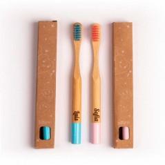 cepillo dientes bambu niños en color rosa en caja kraft