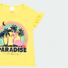 detalle camiseta niña verano amarilla de boboli