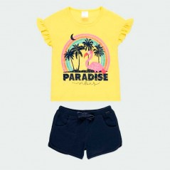 conjunto niña verano de boboli amarillo y marino