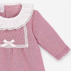 detalle vestido bebe rosa de invierno paz rodriguez