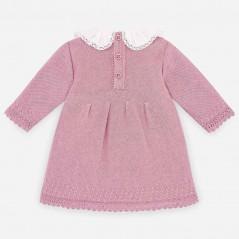 vestido bebe rosa de invierno paz rodriguez por detras