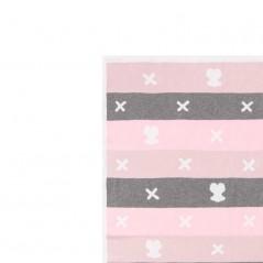 detalle manta bebe tous rosa y gris