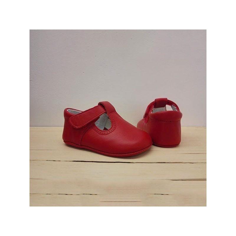 zapatos bebe sin suela de piel rojos leon shoes