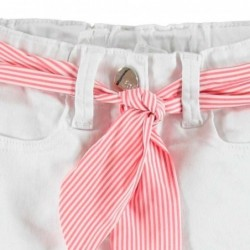 short de niña ido blanco con cinta rosa