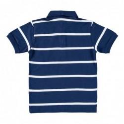 polo de niño azul marino con rayas blancas