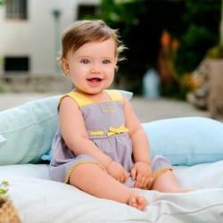 vestido bebe gris y amarillo de tutto piccolo