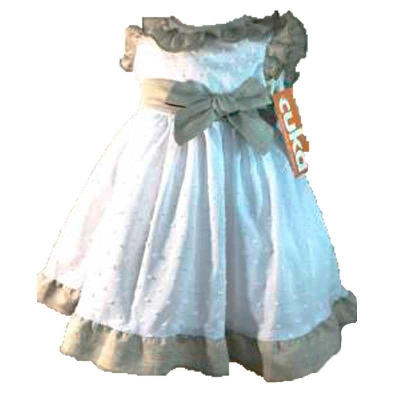 vestido bebe de vestir de lino blanco y arena