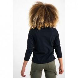 camiseta niña manga larga negra y fluor de garcia jeans