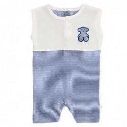 pelele bebe desmangado de tous baby azul y blanco
