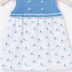 vestido bebe paz rodriguez azul y estampado barcos
