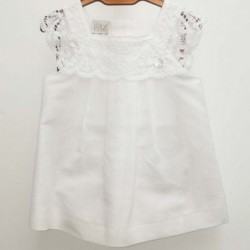 vestido bebe de bautizo de lino blanco