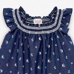vestido bebe desmangado de paz rodriguez azul navy