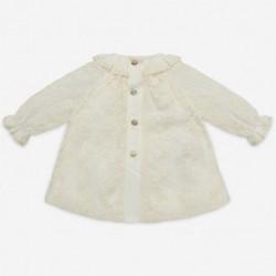 vestido bebe bautizo de tul crudo