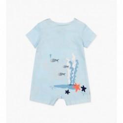 pelele bebe de verano boboli azul y estampado cangrejos
