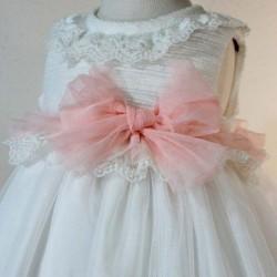 vestido bebe de ceremonia crudo y rosa
