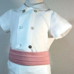 detalle blusa conjunto arras niño crudo y rosa bas marti