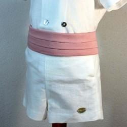 detalle fajin conjunto arras niño crudo y rosa bas marti