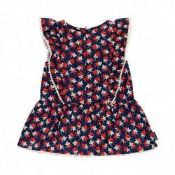 vestido bebe niña marino con estampado flores rojas de boboli
